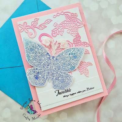 Altenew Floral lace die, Buttefly card, Vellum butterfly Crafty Meraki Wing of hope stamp set