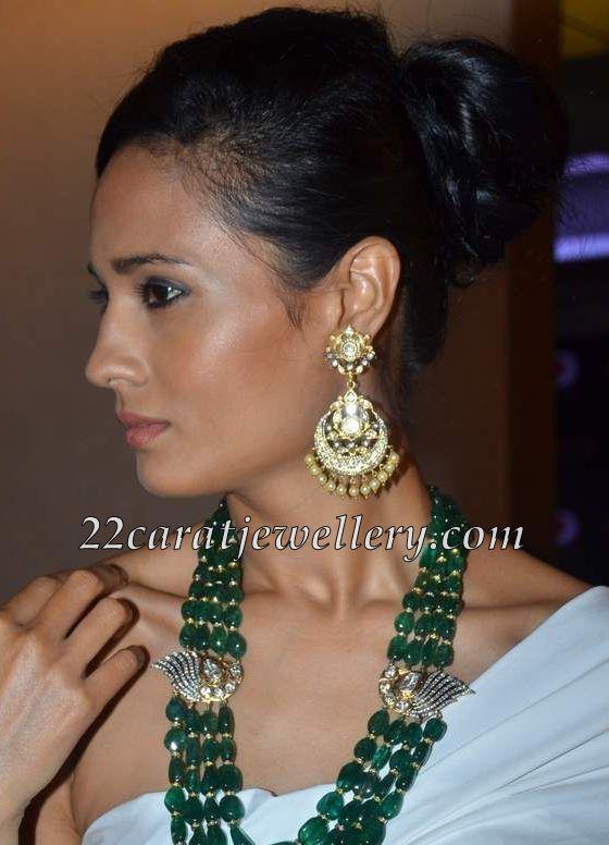 Zambian Emerald Beads Set With Heavy Earrings Jewellery