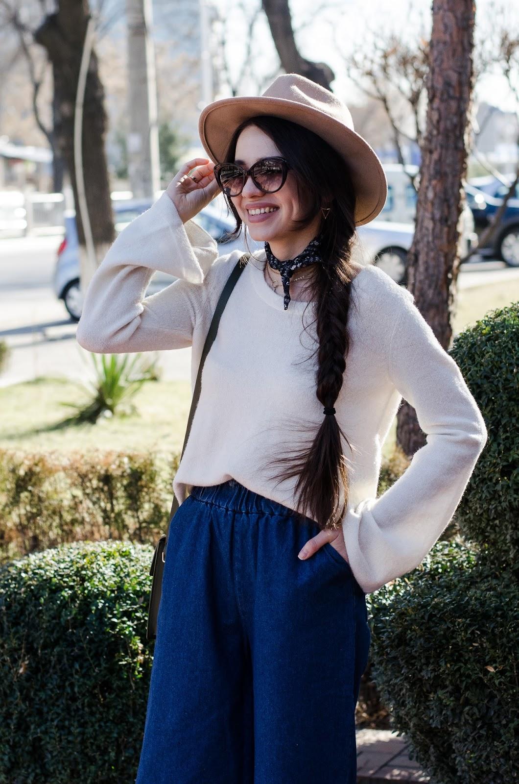 fashion blogger diyorasnotes leopard print heels hat asos denim culottes