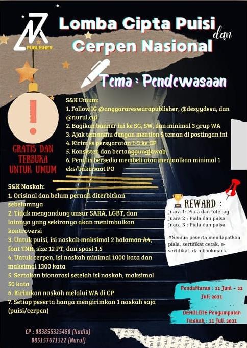Lomba Menulis Puisi dan Cerpen Tema Pendewasaan oleh Anggara Reswara Publisher