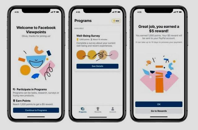 تطبيق Viewpoints الجديد من فيسبوك يدفع لك الاموال مقابل إستخدامه