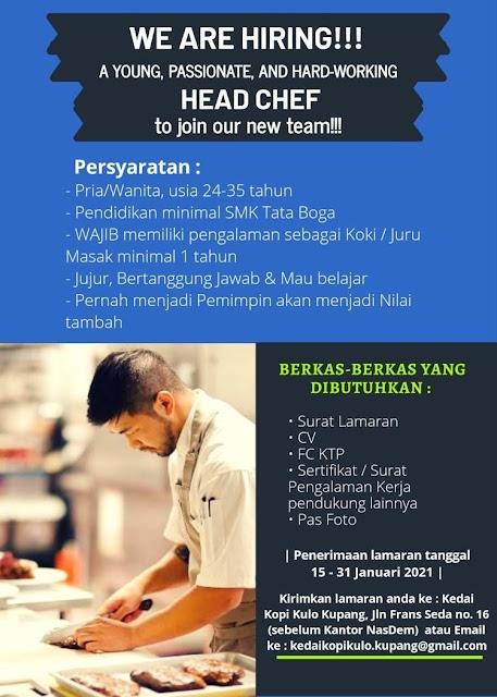 Loker Kupang Head Chef di Kedai Kopi Kulo