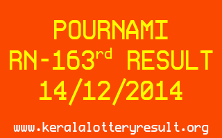 POURNAMI Lottery RN-163 Result 14-12-2014