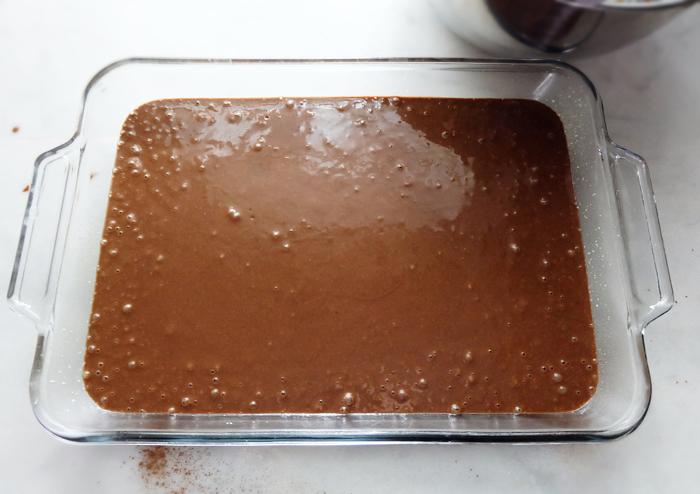 cake batter in 9x13 pan