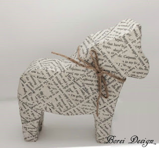 Borei Design One Year Craft Tutorials Review How to make a book page dala horse with free pattern.