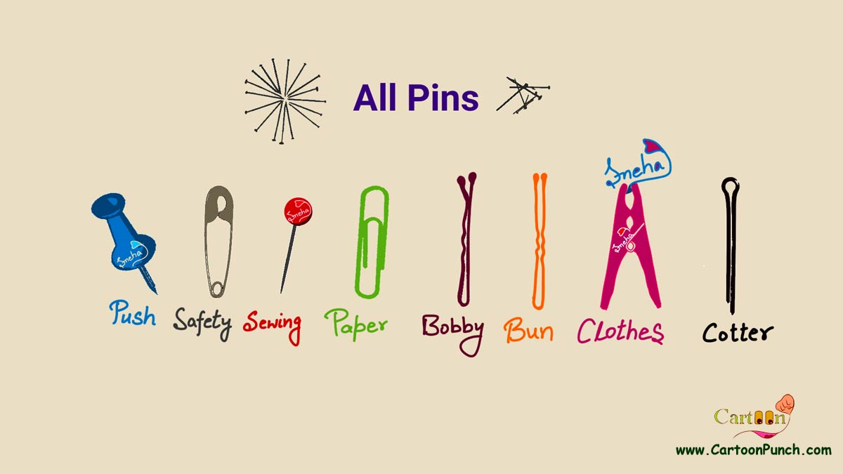 various colorful all pins cartoon illustration by sneha