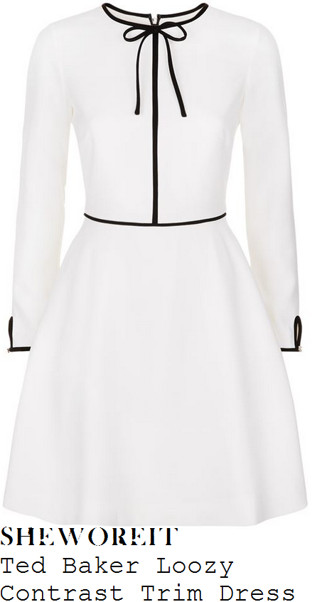 holly-willoughby-ted-baker-loozy-cream-white-and-black-long-sleeve-contrast-bow-tie-and-piping-trim-detail-high-waisted-fit-and-flare-dress