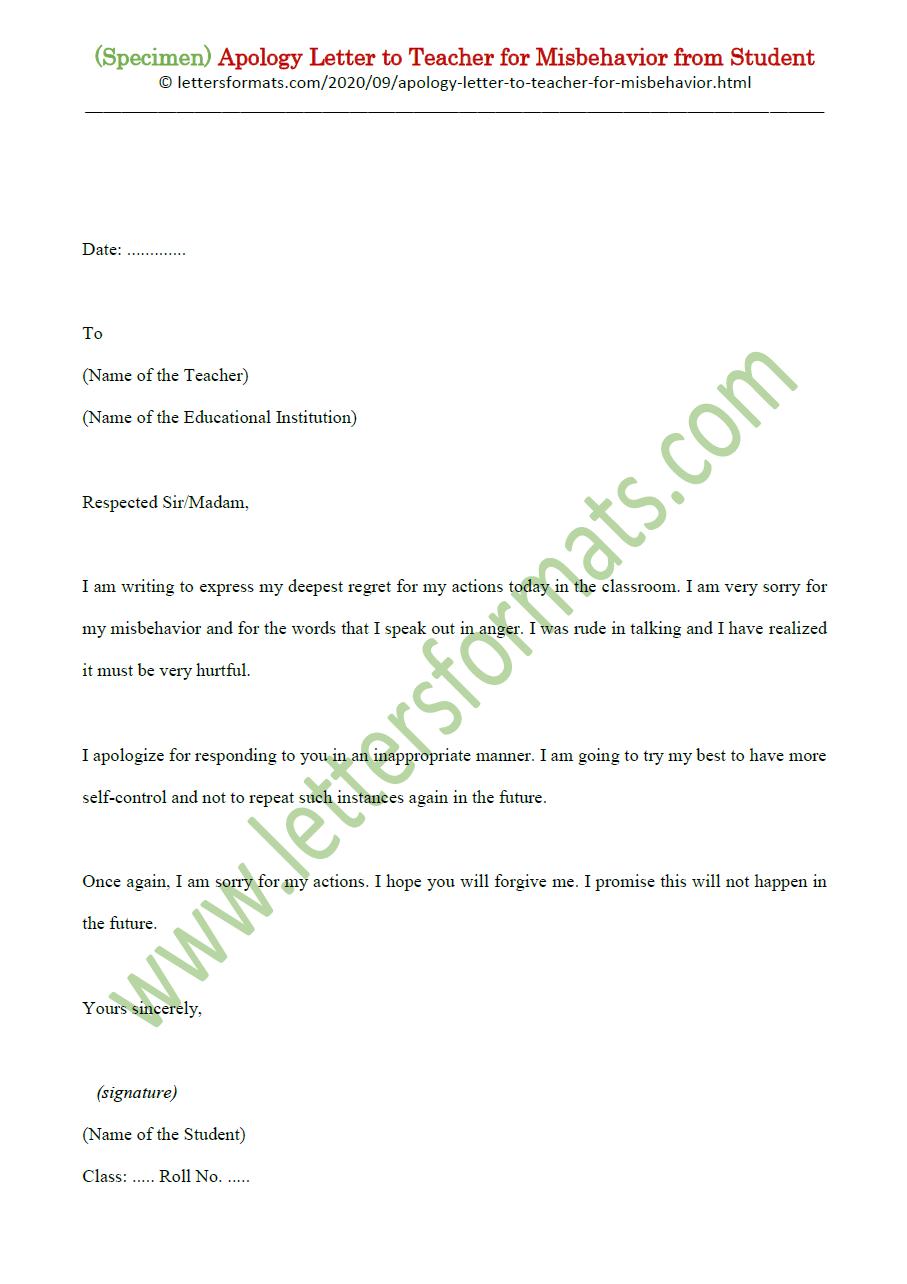 Sample Apology Letter to Teacher for Misbehavior from Student