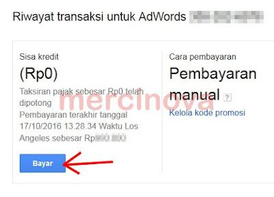 Cara input dana ke akun Adword Google