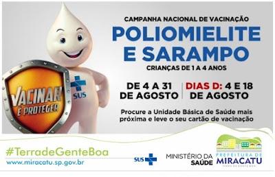 Campanha de vacinação contra poliomelite e sarampo
