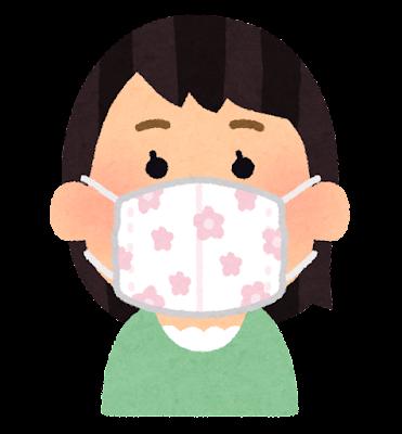 手作りマスクをつけた人のイラスト(女性)
