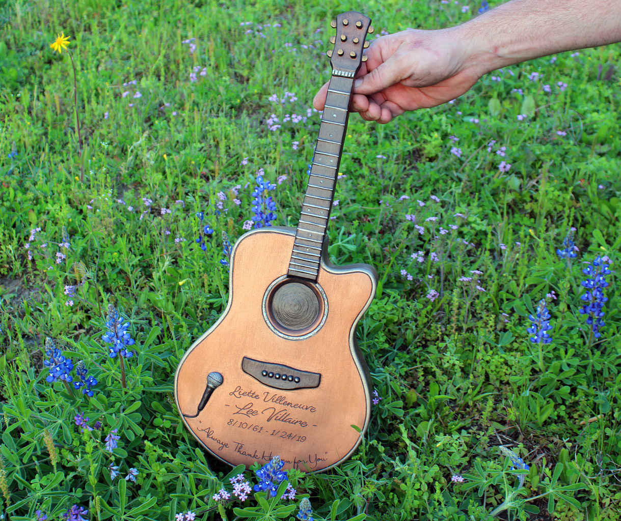 Guitar Urn in Texas Bluebonnets