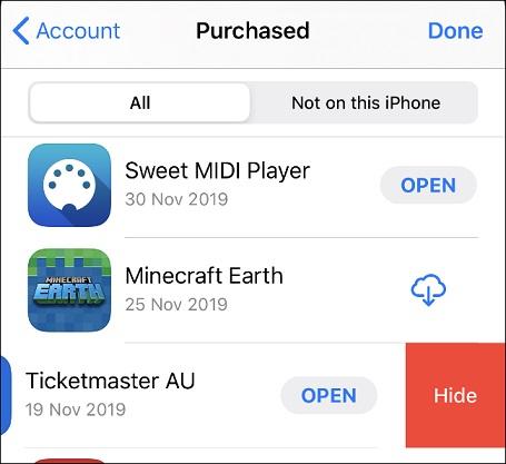 Sembunyikan Aplikasi dari riwayat download