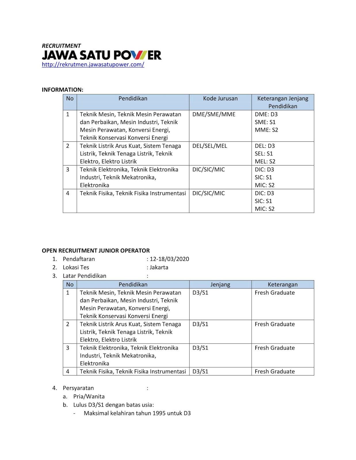 Rekrutmen Pegawai PT.Jawa Satu Power [PT Pertamina Power Indonesia GROUP] Tingkat D3 D4 S1 S2 Bulan Maret 2020