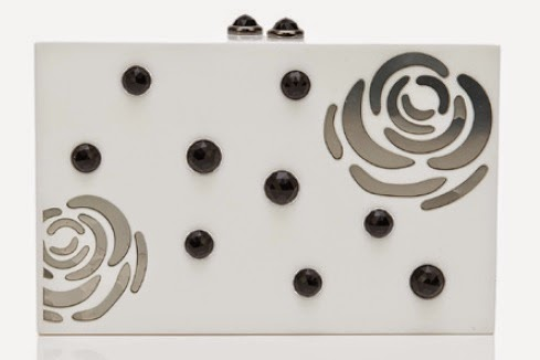 Thalé Blanc's Morning Dew Rose clutch in White Resin/Gunmeta