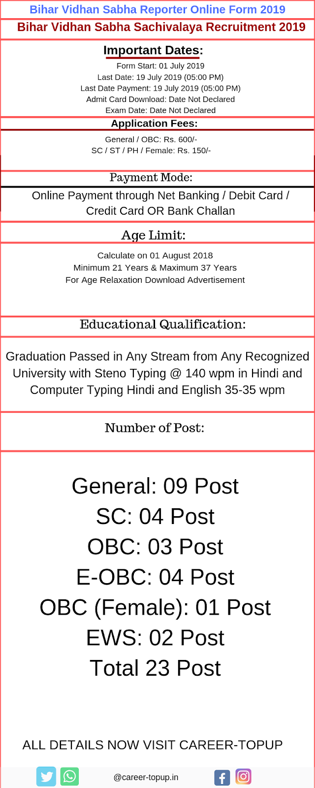 Bihar Vidhan Sabha Reporter Online Application Form 2019