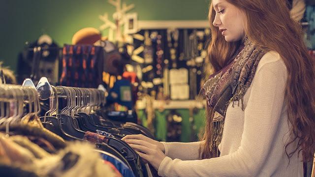 donna, negozio, abiti,
