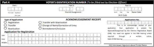 COMELEC Voters Acknowledgement Receipt