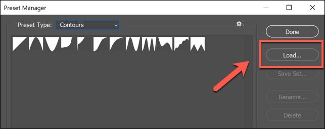 في نافذة Photoshop Preset Manager ، اضغط على زر Load