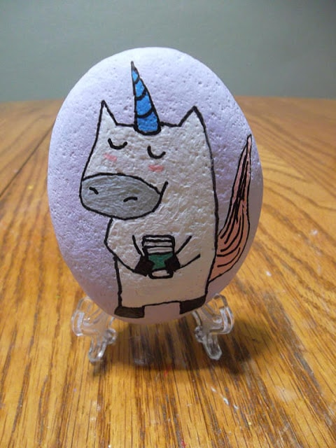 painted rock with unicorn and starbucks