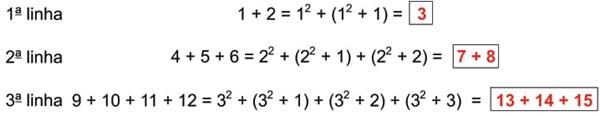 Observe as três primeiras linhas de um padrão, que continua nas linhas subsequentes