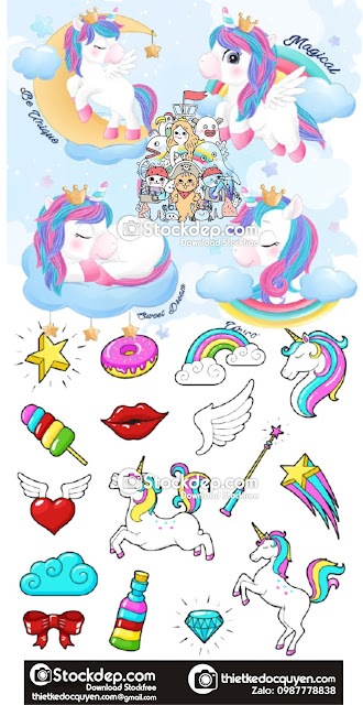 Cute doodle unicorn set in watercolor style free download