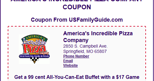 photograph about Incredible Pizza Printable Coupons titled The Nerdy Unicorn: Coupon for Americas Outstanding Pizza