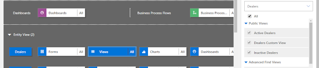 Power Apps Dashboard and components - View selected to configure view of landing page showing dealers list