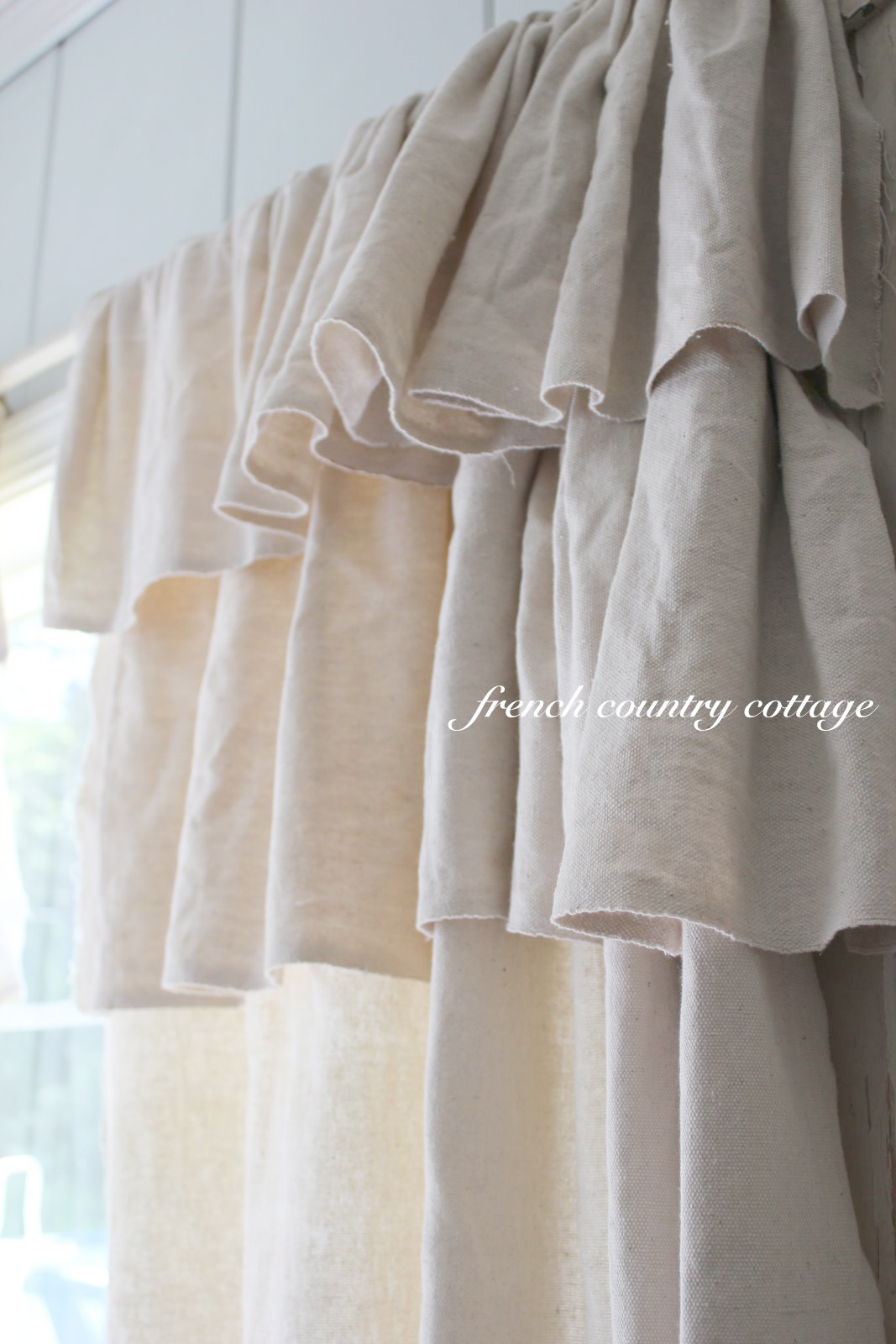 Double Ruffle Drop Cloth Panels - FRENCH COUNTRY COTTAGE
