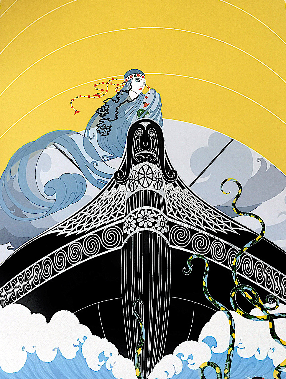 Erte, an anxious woman in a boat sees tentacles