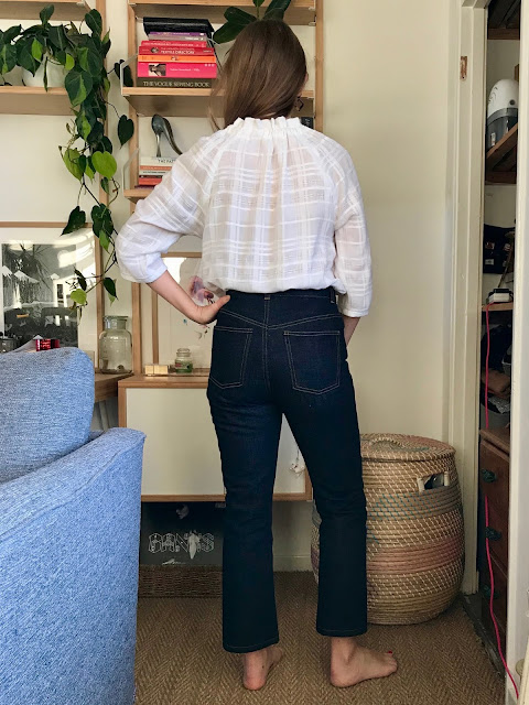 Diary of a Chain Stitcher: Textured Rayon Wilder Top from Friday Pattern Company and Megan Nielsen Straight Leg Dawn Jeans