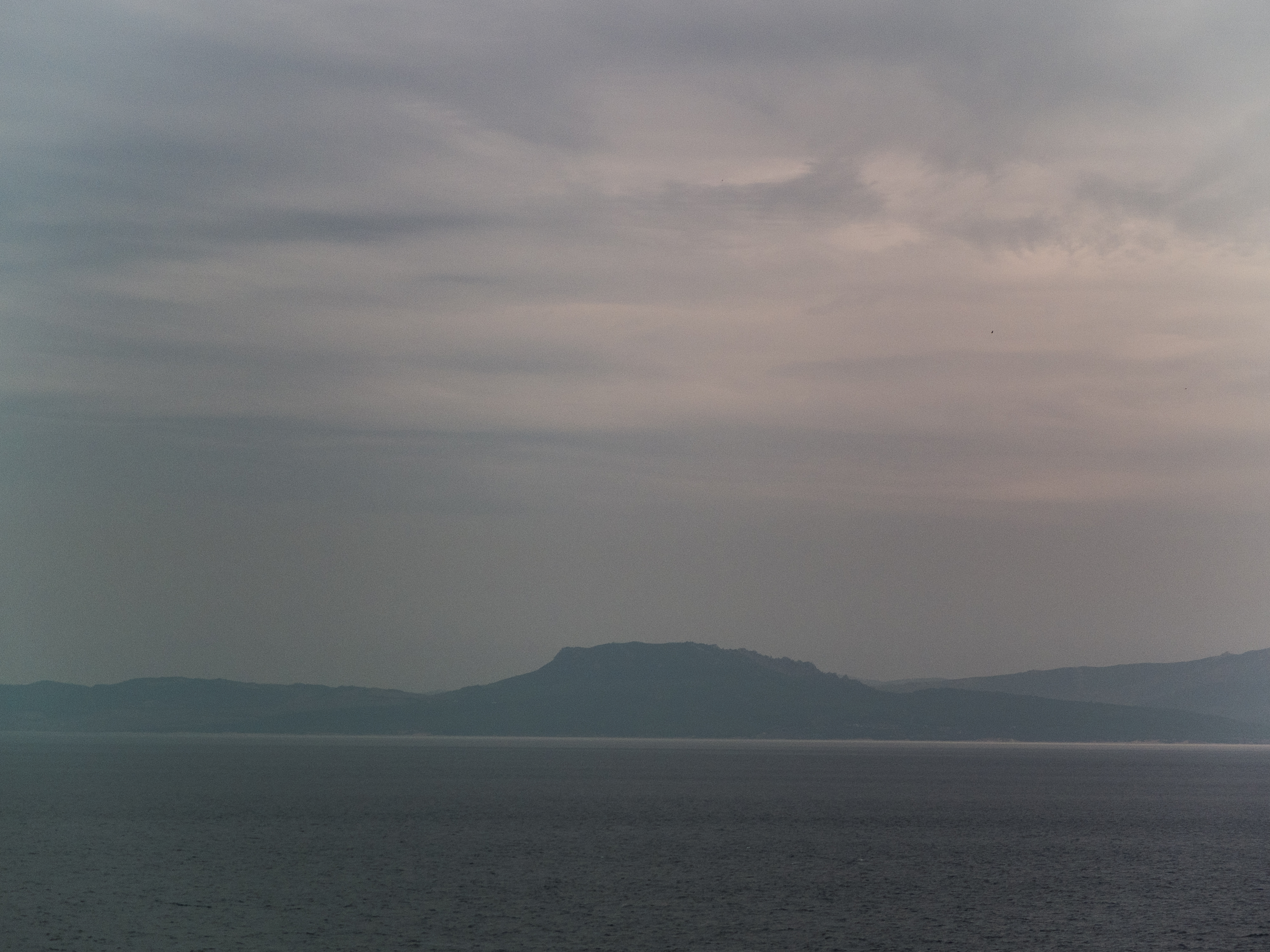View of Africa from the Strait of Gibraltar just before sunrise.
