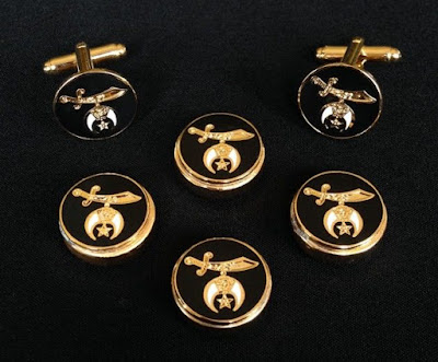Shriner Button Cover & Cuff Link Set in Black & Gold