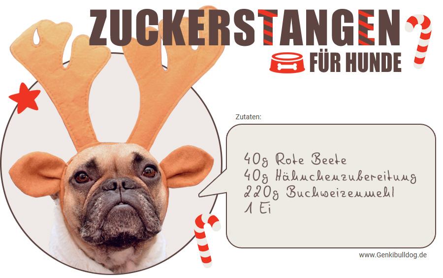 Rezept Zuckerstangen für Hunde selbst backen Hunde Weihnachtsbäckerei