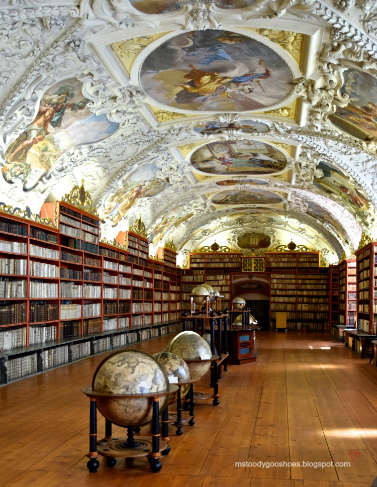 The Strahov Monastery library in Prague is not to be missed | Ms. Toody Goo Shoes #prague #StrahovMonastery #danuberivercruise