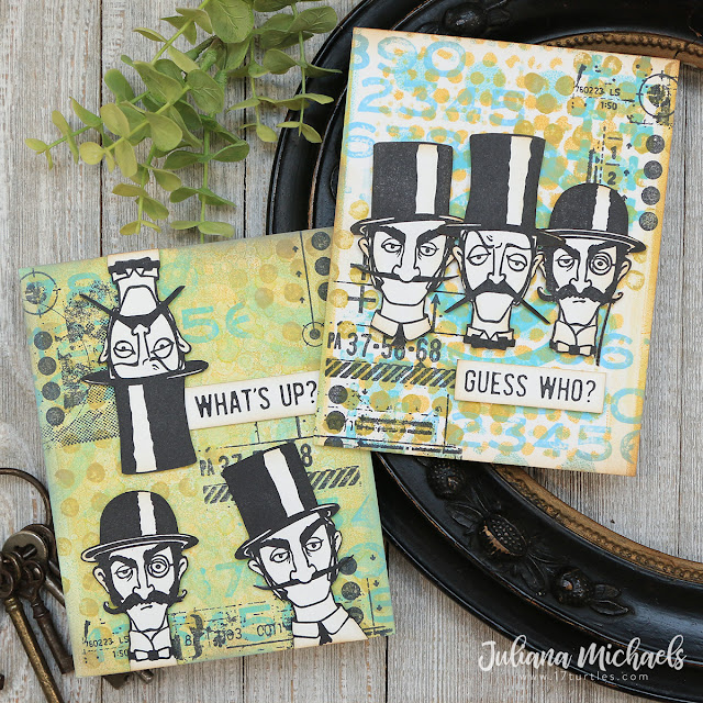 Gel Plate Printing Card Backgrounds by Juliana Michaels featuring Tim Holtz Stampers Anonymous Inquisitive Stamp Set and Gel Plate Printing