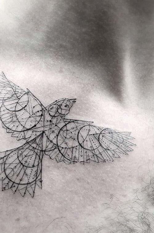 geometric bird tattoo geometrik kuş dövmesi