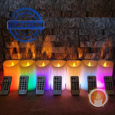 Đèn cầy điện tử bằng sáp remote điều chỉnh 12 màu