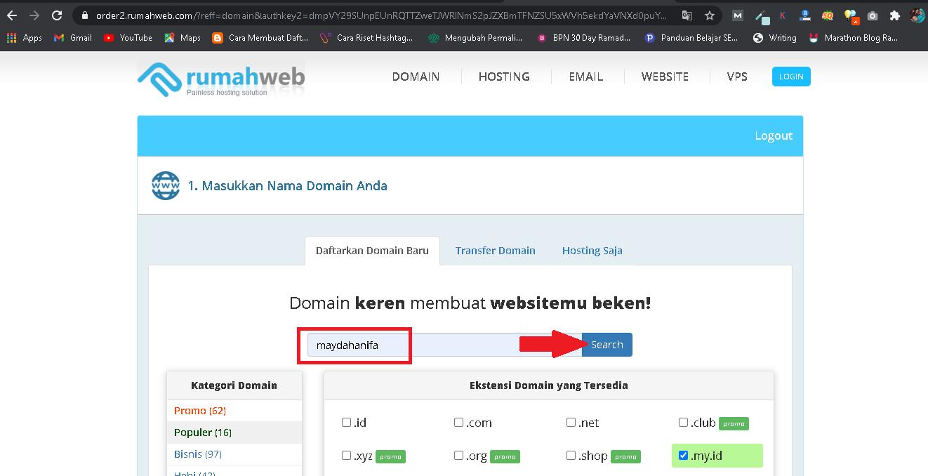 search custom domain di rumahweb