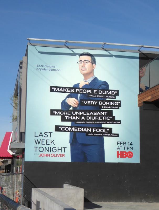 Last Week Tonight John Oliver season 3 billboard