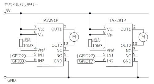Raspberry Pi Zero WH モータードライバーの回路図