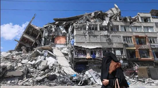 A Buiding in Gaza Devasted by the Air-Strike of Israel