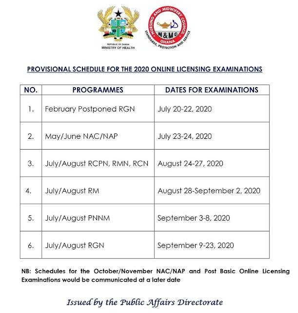 NMC Ghana 2020 Online Licensing Exam Timetable [Nurses & Midwives]
