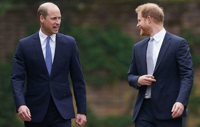 Prince William and Prince Harry at a ceremony at Kensington Palace