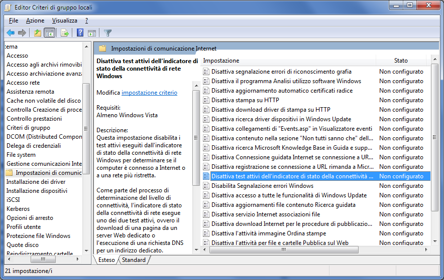 NCSI Group Policy