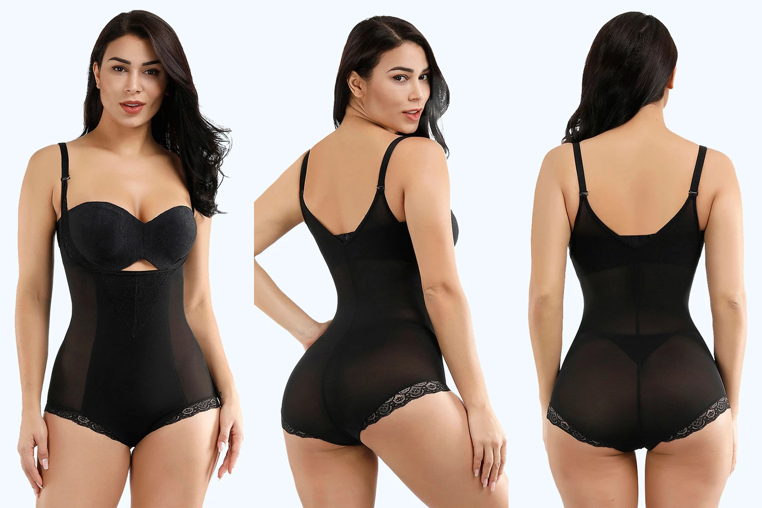 three pictures of a woman wearing shapewear