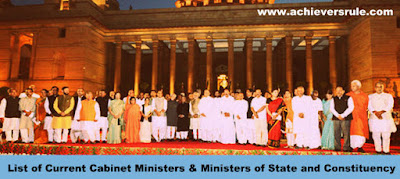 List of Current Cabinet Ministers and Constituency and Ministers of State for SSC CGL, WBSEDCL OFFICE EXECUTIVE, SBI PO, RRBs, RAILWAY EXAMS, IBPS PO, NICL AO, BANK OF BARODA PO, UPSC CIVIL SERVIVE
