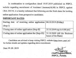 PSPCL Junior Lineman Recruitment Online application form Starting date