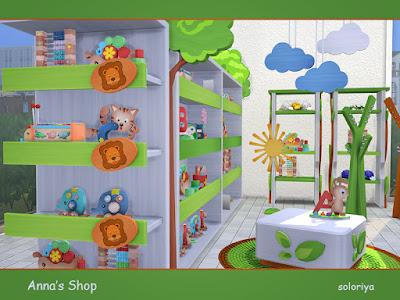 Anna's Shop Магазин игрушек Анны для The Sims 4 Набор мебели для детского магазина. Включает в себя 10 объектов, имеет 3 цветовые палитры. Предметы в наборе: - три прилавка - постамент - деко дерево - вешалка - две этажерки - висящие облака - коврик