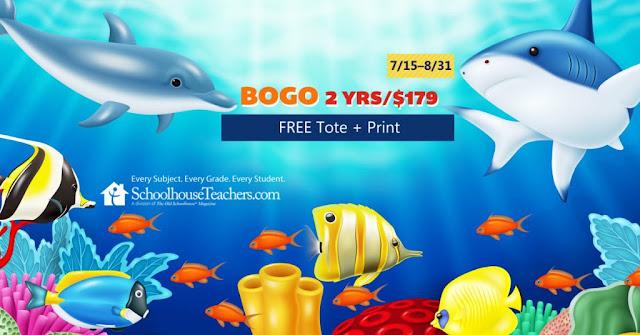BOGO Sharks sale advert for SchoolhouseTeachers.com 2 yrs/$179; 7/15-8/31